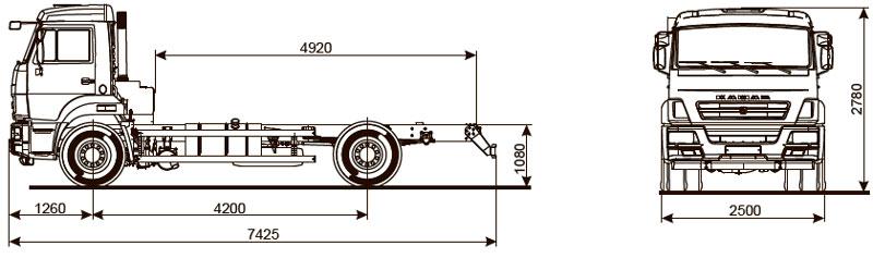 Габаритный чертеж шасси Камаз 43253