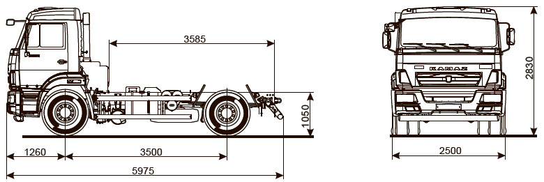 Габаритный чертеж шасси Камаз 43255