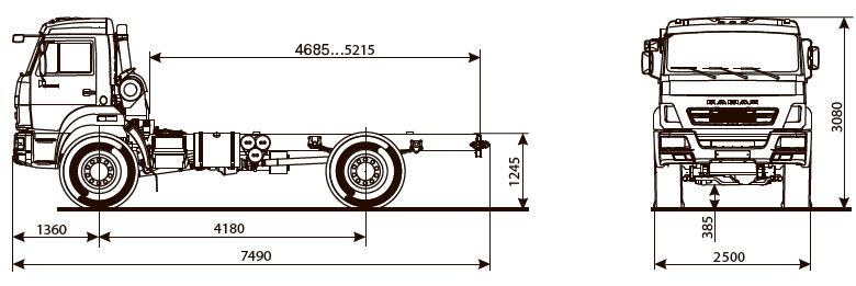 Габаритный чертеж шасси Камаз 43502