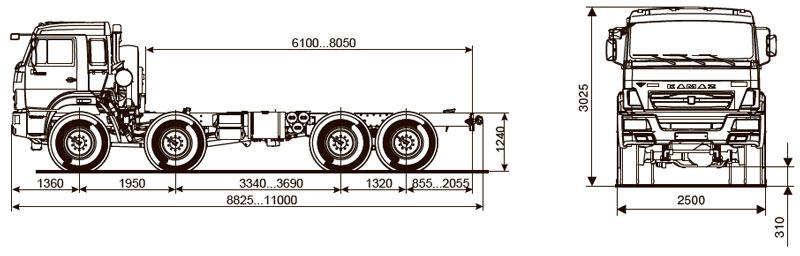 Габаритный чертеж шасси Камаз 63501