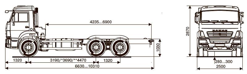 Габаритный чертеж шасси Камаз 65115