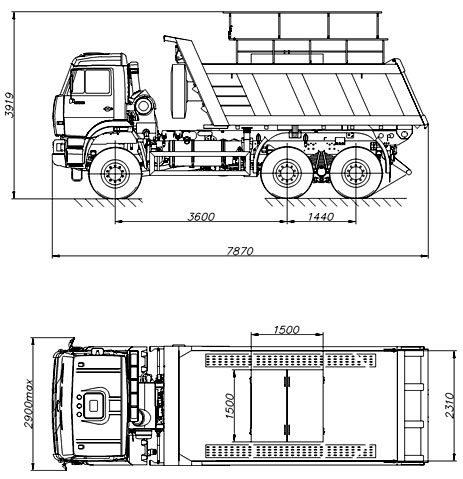 Габаритный чертеж шламовоза Камаз 65222-6012-53