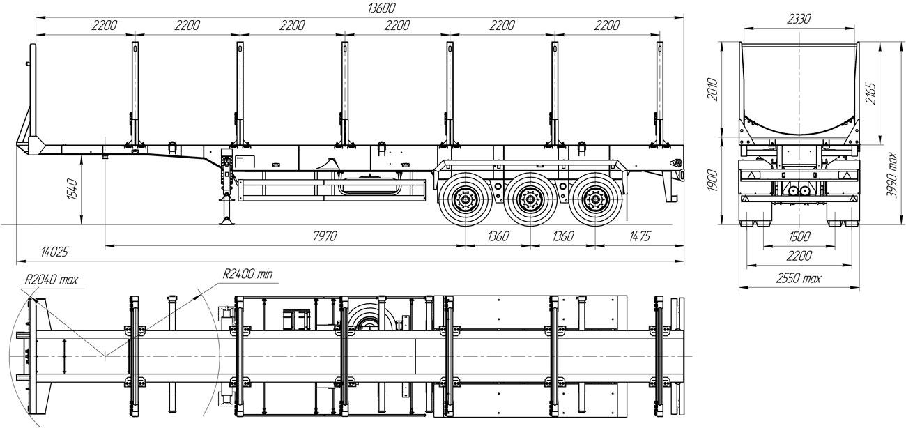 Габаритный чертеж полуприцепа-сортиментовоза марки УЗСТ 9174-001-К