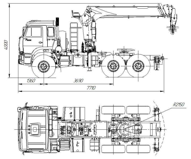 Габаритный чертеж седельного тягача Камаз 43118-3027-50 с КМУ Kanglim KS1256G-II (009)