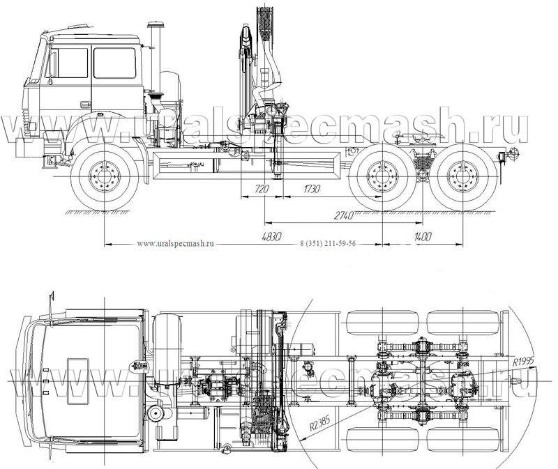 Габаритный чертеж седельного тягача Урал 4320-4972-82Е5 с КМУ АНТ 12-2