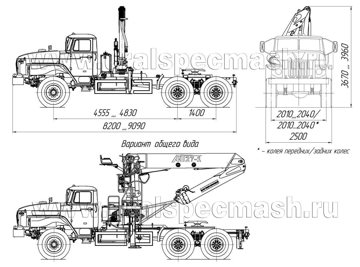 Габаритный чертеж седельного тягача Урал 4320-1912-60Е5 с КМУ АНТ 27-1