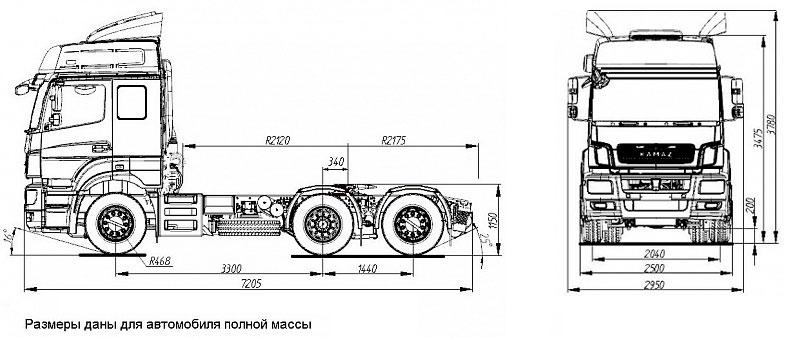 Габаритный чертеж седельного тягача Камаз 65209-87(S5)