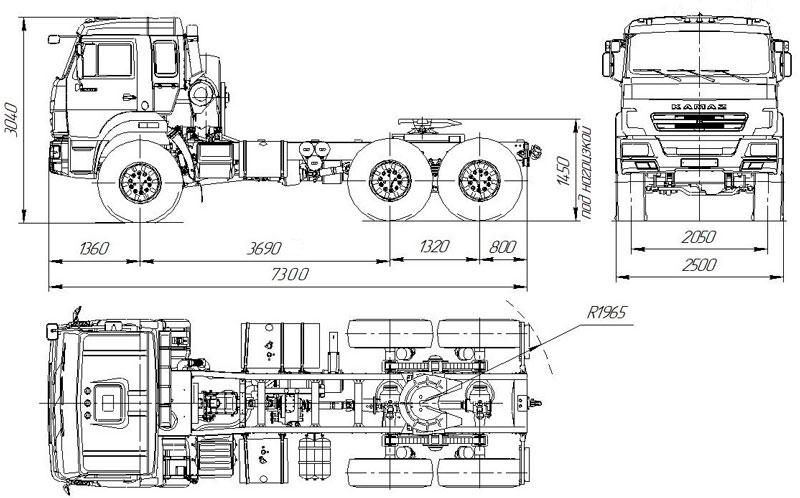 Габаритный чертеж седельного тягача УЗСТ Камаз 43118-3027-50 (004)