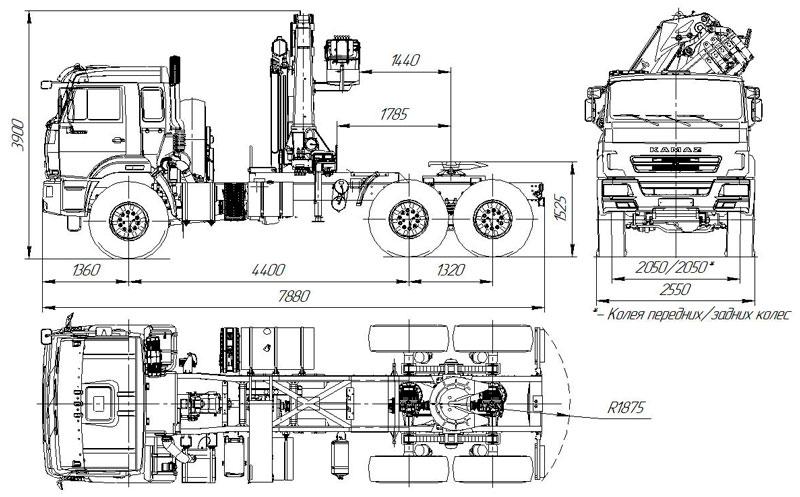 Габаритный чертеж седельного тягача Камаз 43118-3027-50 с КМУ АНТ 22-4 (025)