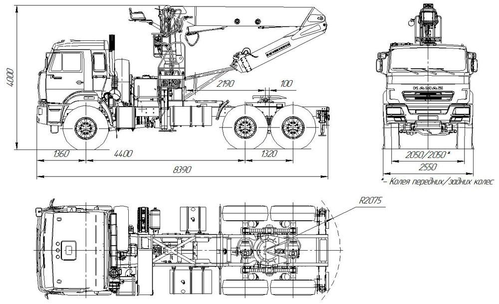 Габаритный чертеж седельного тягача Камаз 43118-3011-50 с КМУ АНТ 27-1