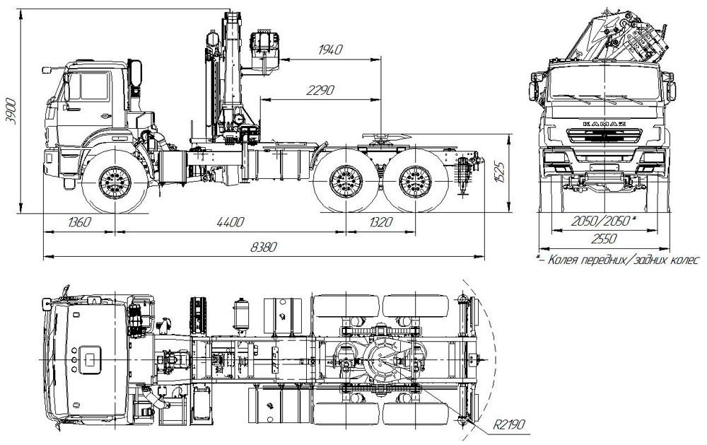 Габаритный чертеж седельного тягача Камаз 43118-3017-50 с КМУ АНТ 22-4