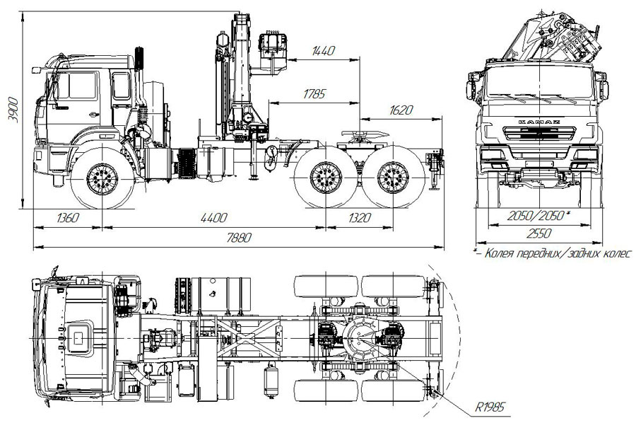 Габаритный чертеж седельного тягача Камаз 43118-3017-50 с КМУ АНТ 22-3 (027)