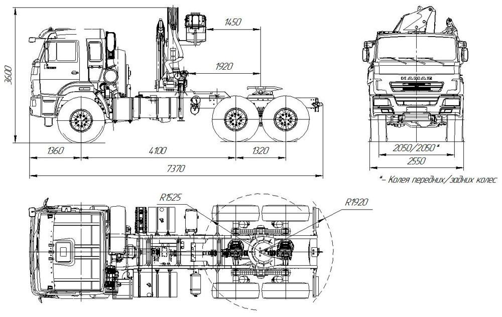 Габаритный чертеж седельного тягача Камаз 43118-3027-50 с КМУ АНТ 12-2