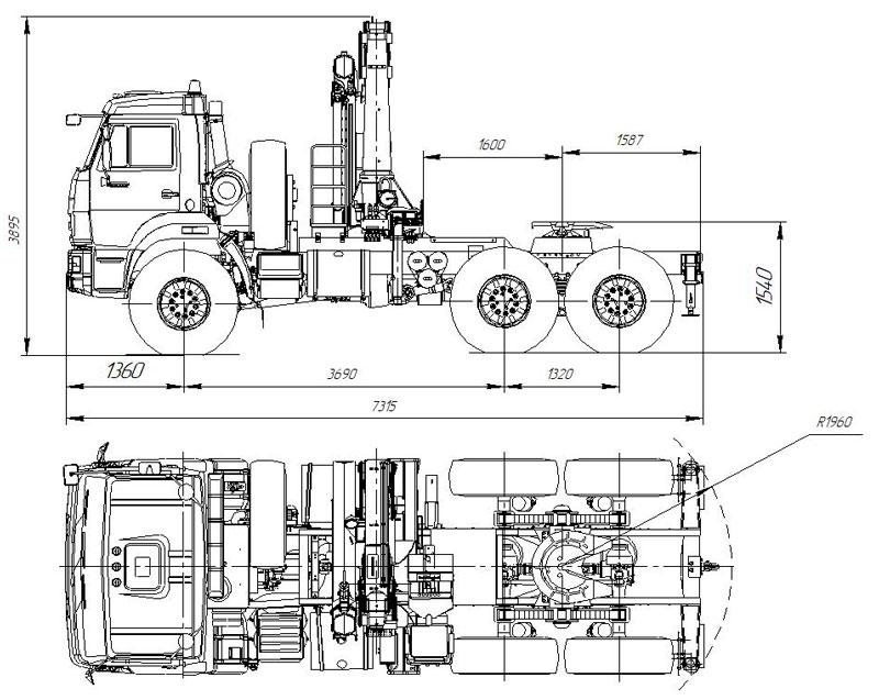 Габаритный чертеж седельного тягача Камаз 43118-3027-50 c КМУ ИМ-240