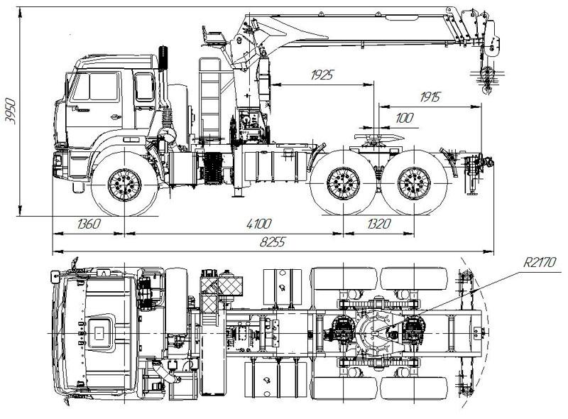 Габаритный чертеж седельного тягача Камаз 43118-3027-50 с КМУ Kanglim KS1256G-II
