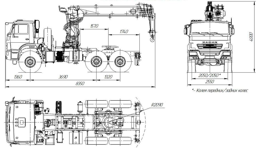 Габаритный чертеж седельного тягача Камаз 43118-3011-50 с КМУ ИТ-200 (017)
