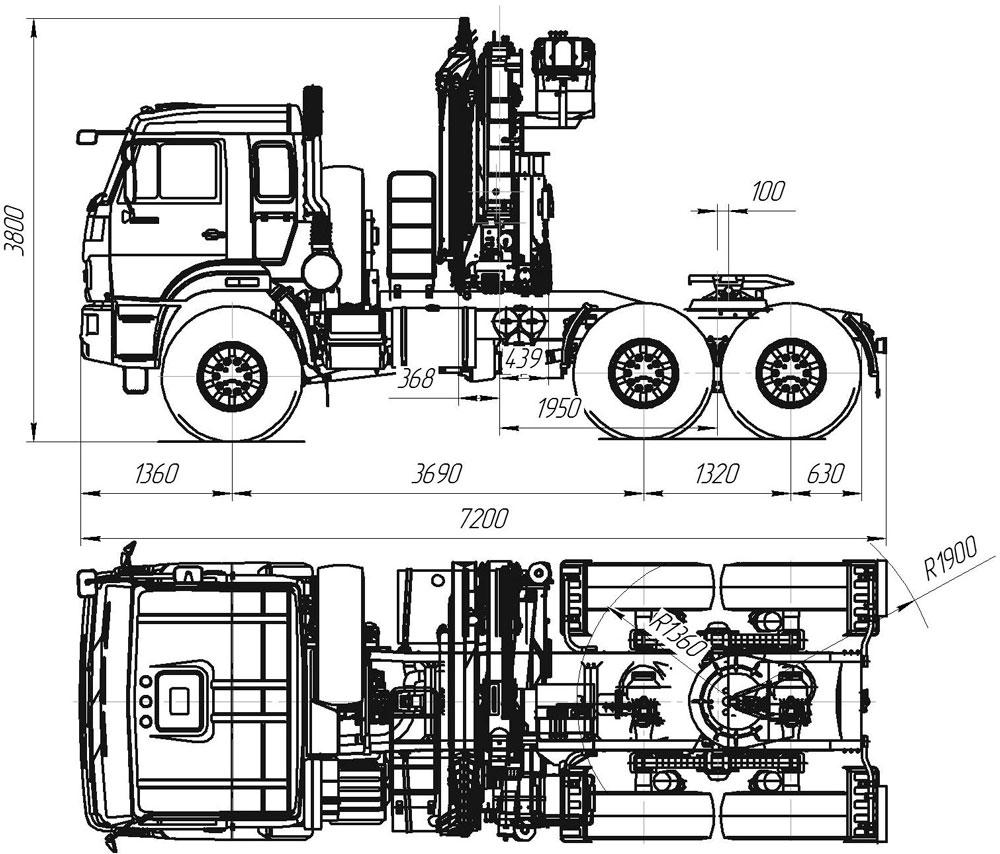 Габаритный чертеж седельного тягача Камаз 53504-6030-50 с КМУ ИМ-180