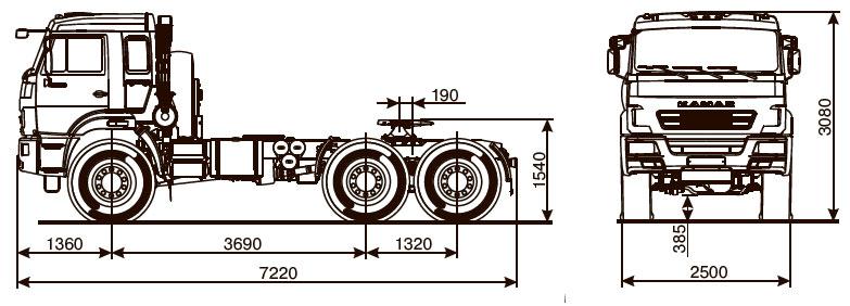 Габаритный чертеж седельного тягача Камаз 53504-50