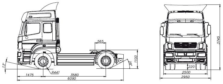 Габаритный чертеж cедельного тягача Камаз 5490-001-68(Т5)