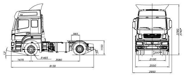 Габаритный чертеж cедельного тягача Камаз 5490-87(S5)
