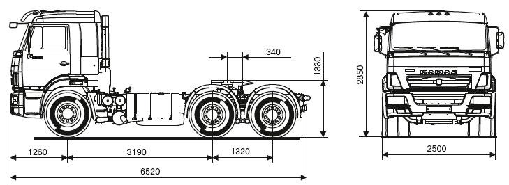 Габаритный чертеж седельного тягача Камаз 65116-48(A5)