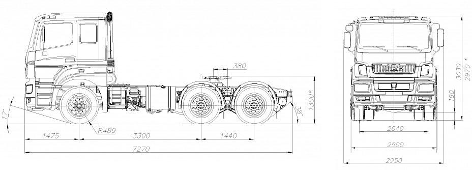 Габаритный чертеж cедельного тягача Камаз 65206-002-68(Т5)
