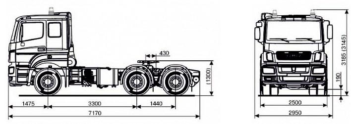 Габаритный чертеж cедельного тягача Камаз 65206-005-87(S5)