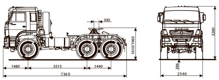 Габаритный чертеж седельного тягача Камаз 65221-6020-53