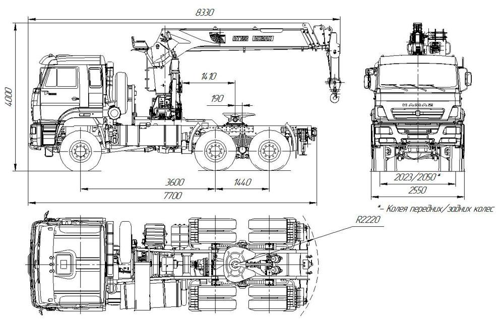 Габаритный чертеж седельного тягача Камаз 65225-6141-53 с КМУ ИТ-180 (020)