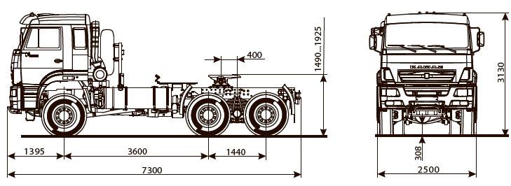 Габаритный чертеж седельного тягача Камаз 65225-6015-53