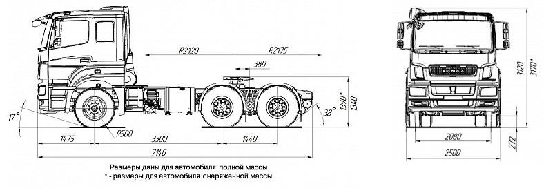 Габаритный чертеж cедельного тягача Камаз 65806-002-68(T5)