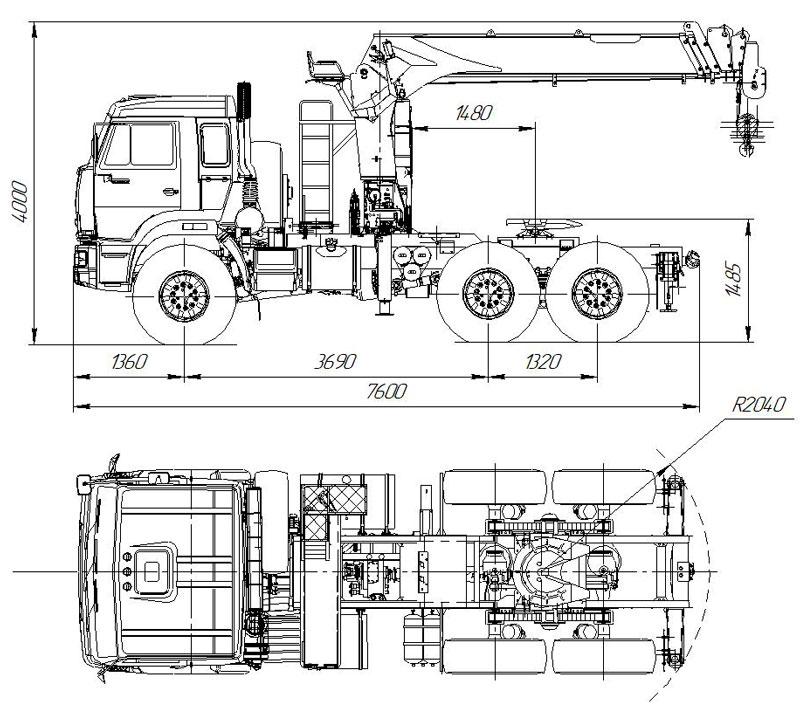 Седельный тягач Камаз 43118-3027-50 с КМУ Kanglim KS1256G-II (013)