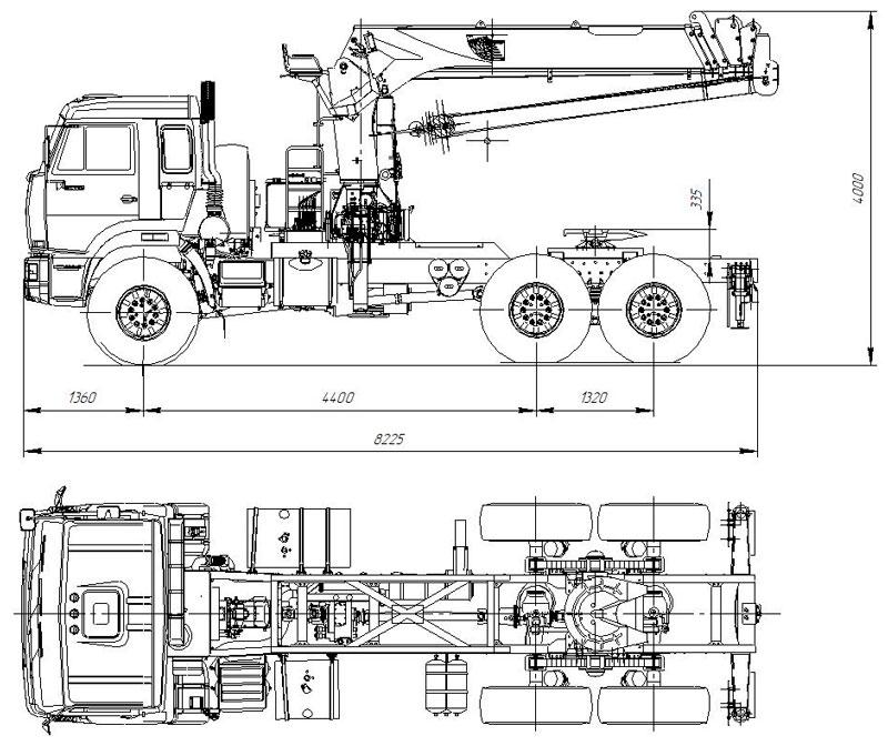 Габаритный чертеж cедельного тягача Камаз 43118-3027-50 с КМУ Kanglim KS-2056 (006)