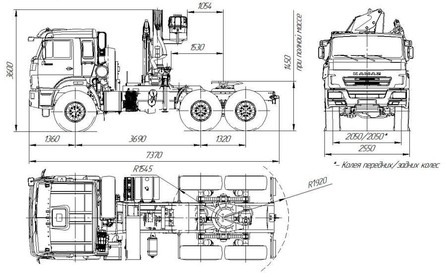 Габаритный чертеж седельного тягача Камаз 43118-3011-50 с КМУ АНТ 12-2