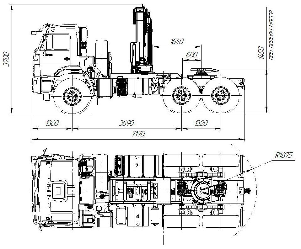Габаритный чертеж седельного тягача Камаз 43118-3027-50 с КМУ Fassi F155.A.0.22