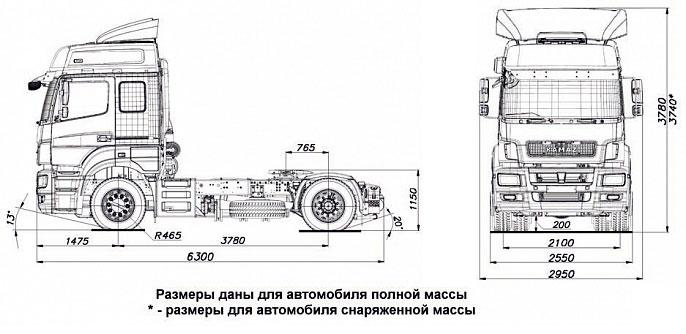 Габаритный чертеж cедельного тягача Камаз 5490-NEO