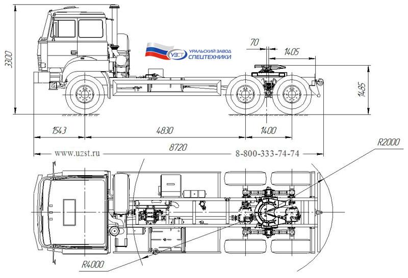 Габаритный чертеж седельного тягача УЗСТ Урал 4320-4972-82Е5