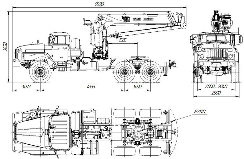Габаритный чертеж седельного тягача Урал 4320-1912-60Е5 с КМУ ИТ-180 (008)