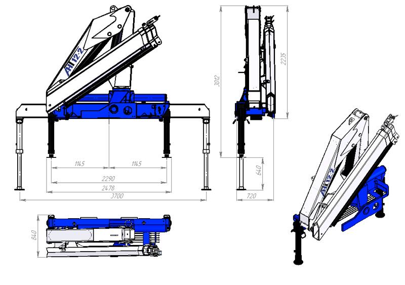Габаритный чертеж крано-манипуляторной установки КМУ АНТ 12-2