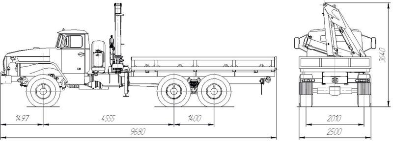 Габаритный чертеж бортового автомобиля Урал 4320-1912-60Е5 с КМУ ИМ-50 за кабиной
