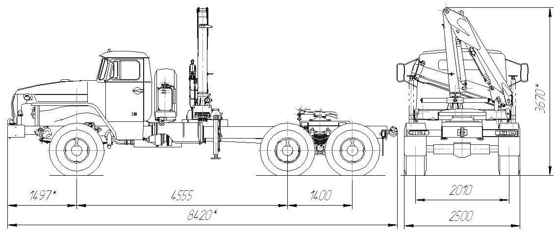 Габаритный чертеж седельного тягача Урал 4320 с КМУ ИМ-50