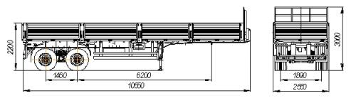 Габаритный чертеж бортового полуприцепа Нефаз 9334-20