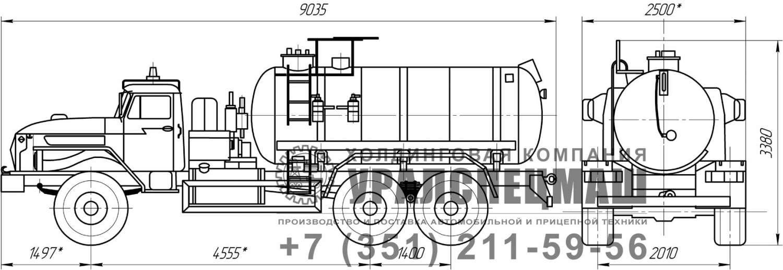 Габаритный чертеж АЦК-10 Урал 4320-1912-60Е5 (кислотовоз)
