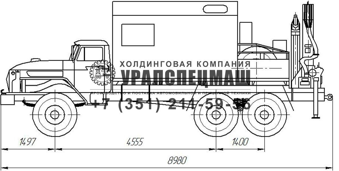 Габаритный чертеж АРОК Урал 4320 с КМУ