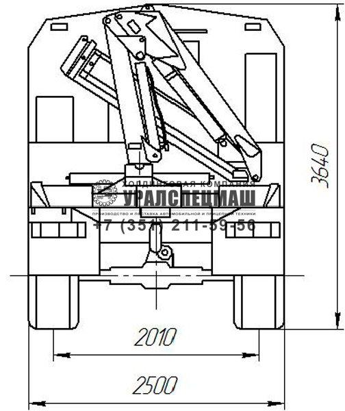 Габаритный чертеж АРОК Урал 4320 с КМУ | вид сзади