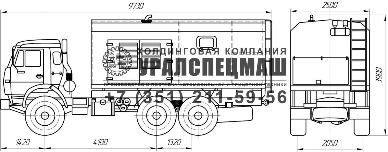 Габаритный чертеж передвижной электростанции ПЭС на шасси Камаз 43118
