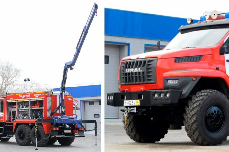 Пожарно-спасательный автомобиль с краном-манипулятором
