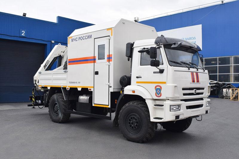 Грузопассажирский аварийно-спасательный автомобиль Камаз 43502-3036-66(D5) с КМУ АНТ 8.5-2 (001-20, дв. Cummins, г/п 4 т.)