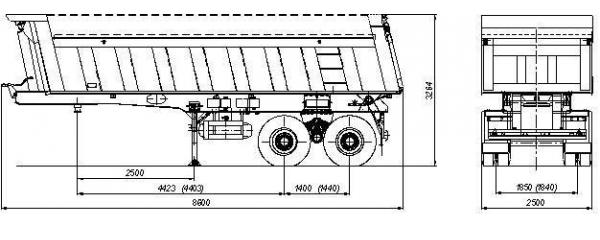 Габаритный чертеж Полуприцеп-самосвал 9509