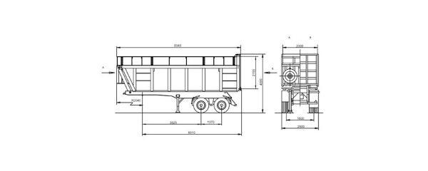 Габаритный чертеж Полуприцеп-щеповоз 950600-030